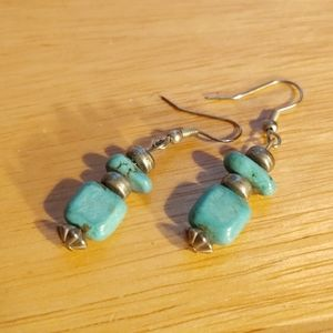 Turquoise stones and sterling silver earrings